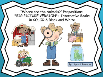 """Where are the Animals?"" BIG Pictures; Interactive books in Color and  B&W"