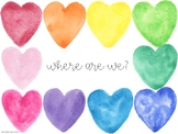 """Where are we?"" door sign (watercolor hearts) *editable"