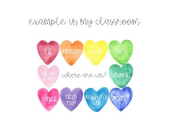 """""""Where are we?"""" door sign (watercolor hearts) *editable"""