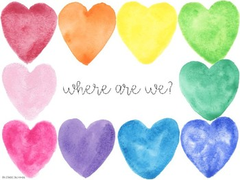Where are we? door sign (watercolor hearts) *editable