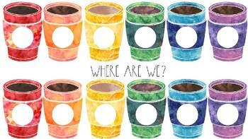 Where are we? door sign (watercolor coffee mugs) *editable
