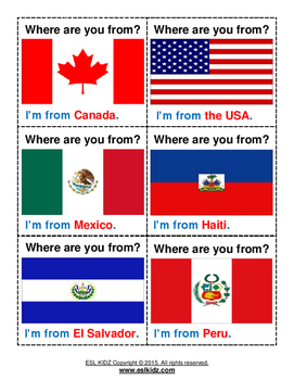 'Where are you from' Flashcard Set
