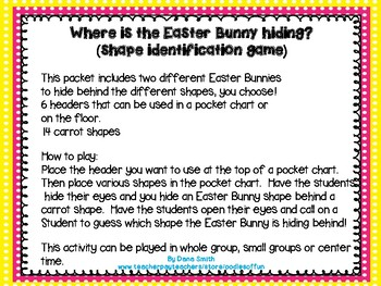 """Where is the Easter Bunny hiding?"" (shape identification game)"