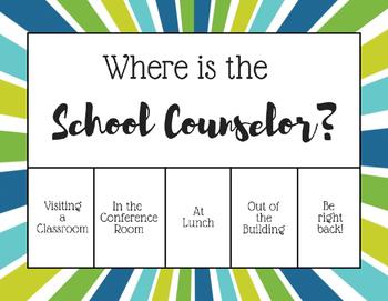 """Where is the School Counselor?"" Office door sign - Blue Orange Sunburst"