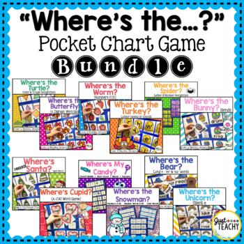 """Where's The...?"" Pocket Chart Game Bundle, Hide & Find Games"