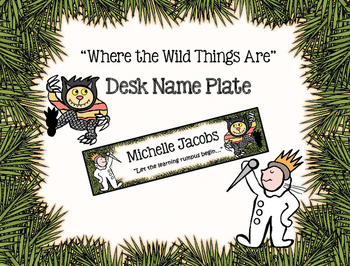 """""""Where the Wild Things Are"""" Name Tag/Desk Plate"""