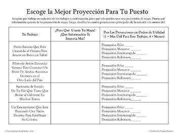 """""""Which Map Projection For Which Crazy Job?"""" Exercise - 20-30 Minutes - SPANISH"""