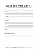 """""""While You Were Gone"""" Make-up Work form"""