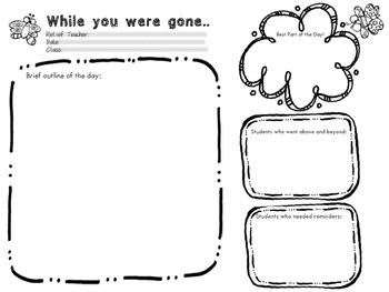'While You Were Gone...' Printable (Substitute/Relief Teaching)