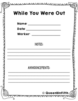 """""""While You Were Out"""" Absent Student Work Log"""