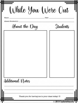 While You Were Out Substitute Teacher Note Template