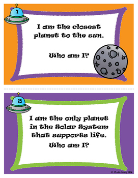 """Who Am I?"" Planet Facts Riddle Task Cards"