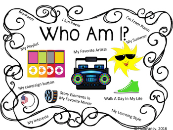 """""""Who Am I"""" Surveys, Interest Inventories, Poems, and Creat"""