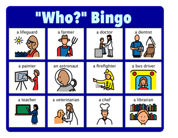 """""""Who?"""" Bingo - Answering """"Who?"""" Questions"""