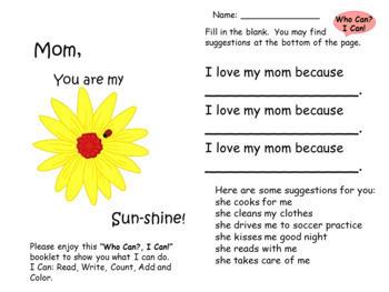 Mother's Day Writing Activities. Math Activities for Exploring Minds!A Keepsake!