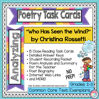 """Who Has Seen the Wind?"" by Christina Rossetti  Poetry Analysis Task Cards"
