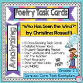 """""""Who Has Seen the Wind?"""" by Christina Rossetti  Poetry Analysis Task Cards"""