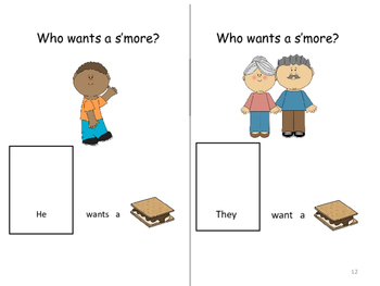 """""""Who Wants a S'more?"""" Adapted Book (Color and B/W) Pronouns, Sequencing and WH?"""