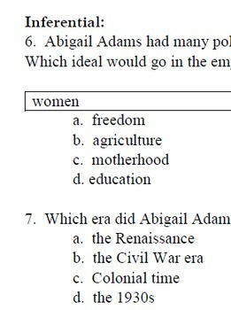 """Who Was Abigail Adams?""  Reading Level O; Biography; 30 reading comp questions"