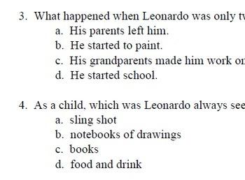 """""""Who Was Leonardo da Vinci"""" Level O; 30 reading comp questions; printables"""