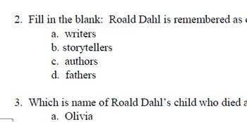 """Who Was Roald Dahl?""  40 reading comp questions; Biography; Printables; Level Q"