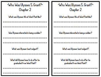 """""""Who Was Ulysses S. Grant?"""" by Megan Stine - Chapter Questions"""