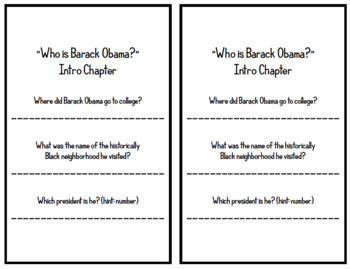 """Who is Barack Obama?"" by Roberta Edwards - Chapter Questions"