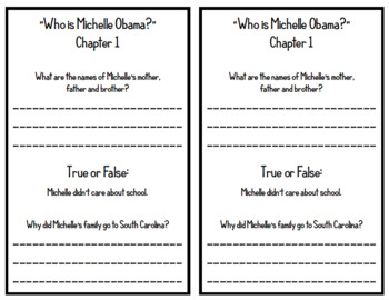 """""""Who is Michelle Obama?"""" by Megan Stine - Chapter Questions"""