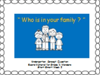 """Who is in your family ?"" Concept Response Sheet for Wonders K"
