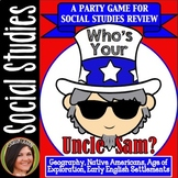 """""""Who's Your Uncle Sam?"""" SOCIAL STUDIES Review Card Game [Geography-Settlements]"""