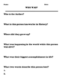 """Who Was"" Book Report Worksheet"