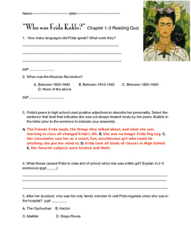 """Who was Frida Kahlo?"" ch 1-3 Reading Quiz"