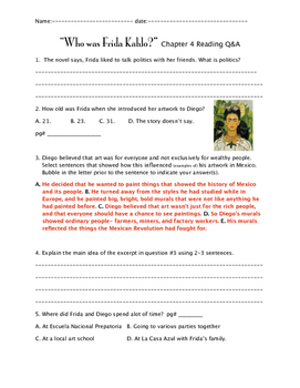 """Who was Frida Kahlo?"" ch 4 QnA"