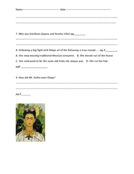 """Who was Frida Kahlo?"" ch. 4 and 6"
