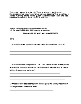 """""""Who was Shakespeare?"""" Read-Write Activity"""