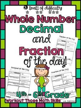 {Whole Number, Decimal, & Fraction of the Day Sheets} CCSS