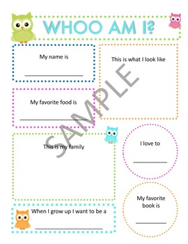 """Whoo Am I"" Owl Themed Worksheet to Get to Know Your Students"
