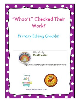 """Whoo's"" Checking Their Work: Primary Editing Checklist"