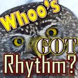 """Easy Rhythm Game - """"Whoo's Got Rhythm"""" - Quarter Note Quarter Rest 2 Eighths"""