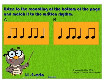 "Easy Rhythm Game - ""Whoo's Got Rhythm"" - Quarter Note Quarter Rest 2 Eighths"