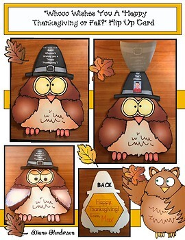 "Thanksgiving Craft: ""Whoo Wishes You A ""Happy Thaksgiving or Fall?"" Flip Up Card"