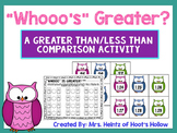 """Whooo's Greater?"": A Greater Than/Less Than Comparing Numbers Activity"