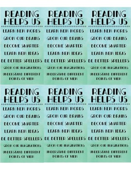 """""""Why Do We Read?"""" Bookmarks for Students"""
