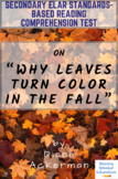 """""""Why Leaves Turn Color in the Fall"""" Nonfiction by Diane Ackerman Reading Test"""