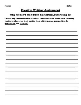 """""""Why we can't Wait"""" by Martin Luther King Jr Creative Writing"""