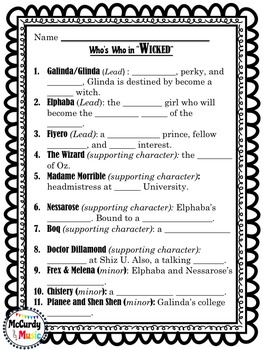 """Wicked"" the Musical worksheet bundle"