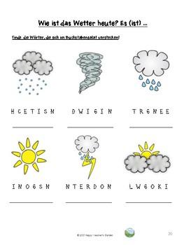 """""""Wie ist das Wetter heute?""""  Arbeitsblaetter zum Thema """"Wetter"""""""