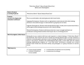 """Wild About Books"" (Genre Study & Book Care) - CCSS Kindergarten Lesson Plan"