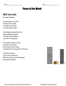 """Will not Sell"" a great Poem of the Week by Jody Weissler"