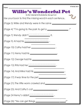 """""""Willie's Wonderful Pet"""" Activities for Reading, Writing, & Comprehension"""